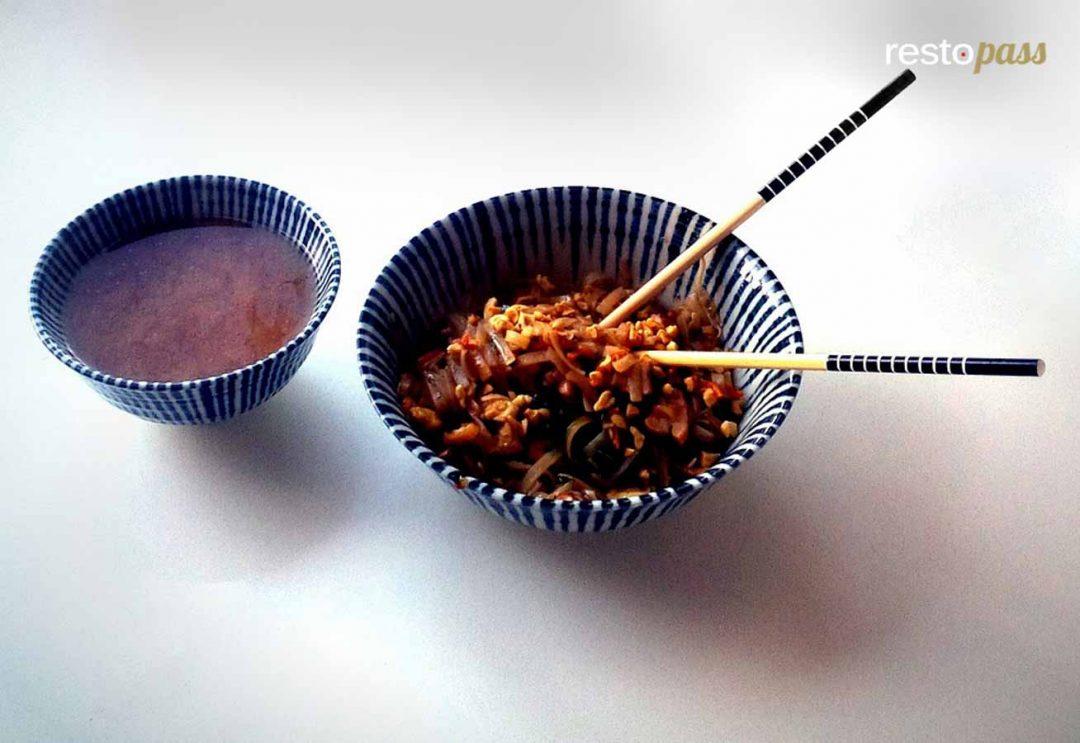 pad thai caramélisé au porc